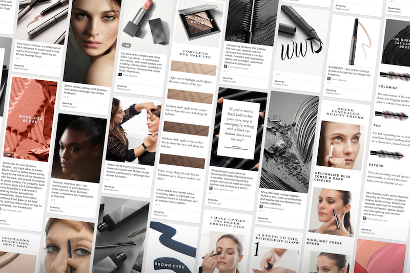 Burberry Beauty Pinterest campaign for Cat Lashes mascara