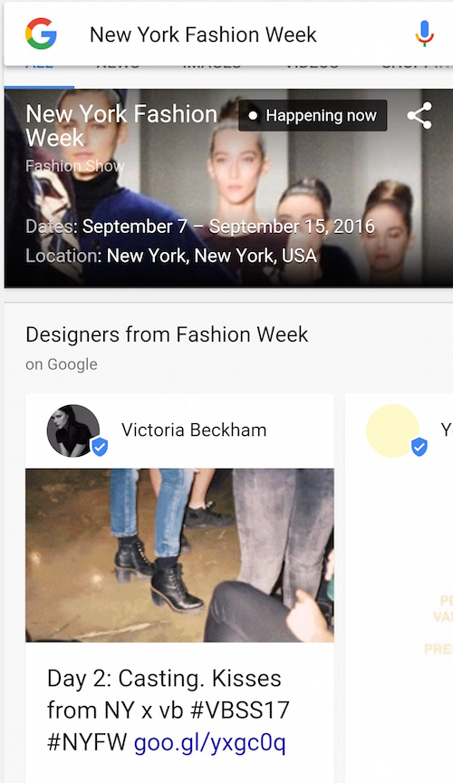 New York Fashion Week Google Victoria Beckham fitting