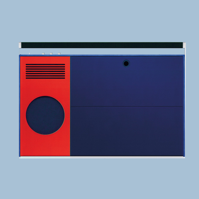 Hermes Vinyl boombox in swift calfskin and streaming canvas