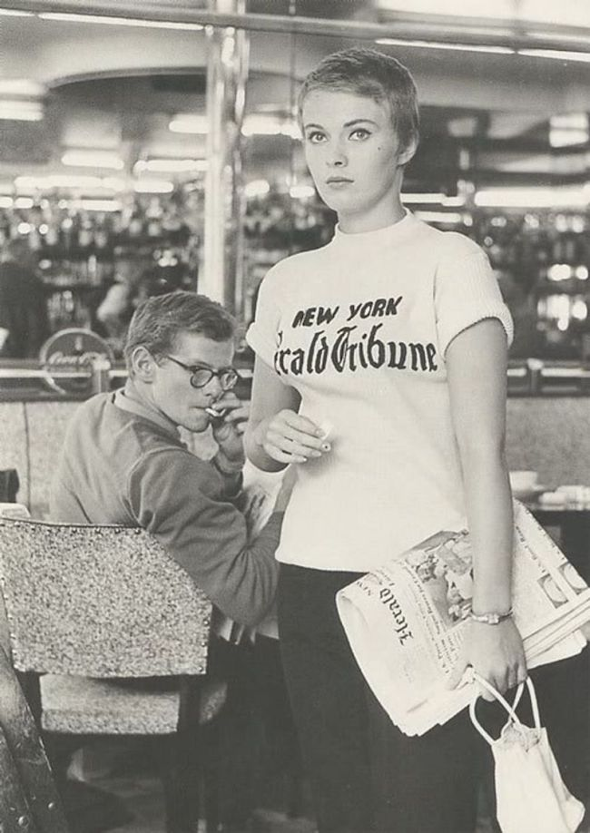 Jean Seberg wearing a New York Herald Tribune T-shirt in Breathless movie