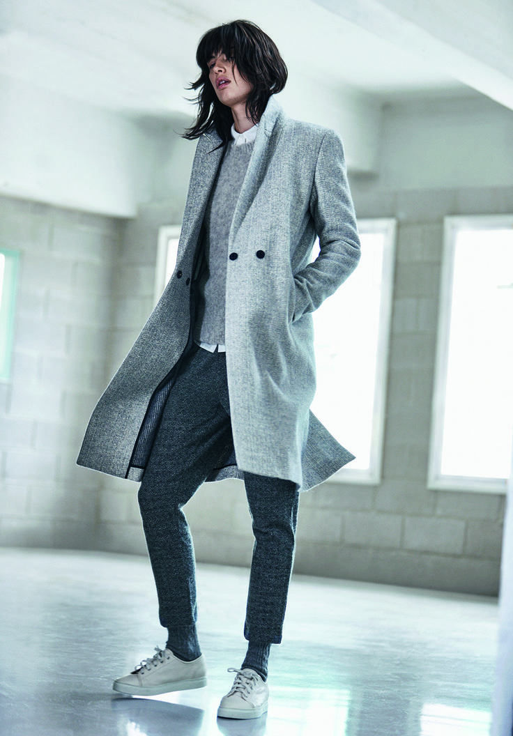 JIGSAW AW15 Melange Knit Back Coat £298 Soft Boucle Sweater £98 White Cotton Shirt £79 Wool Herrinbone Track Pants £79 Leather Trainers £98