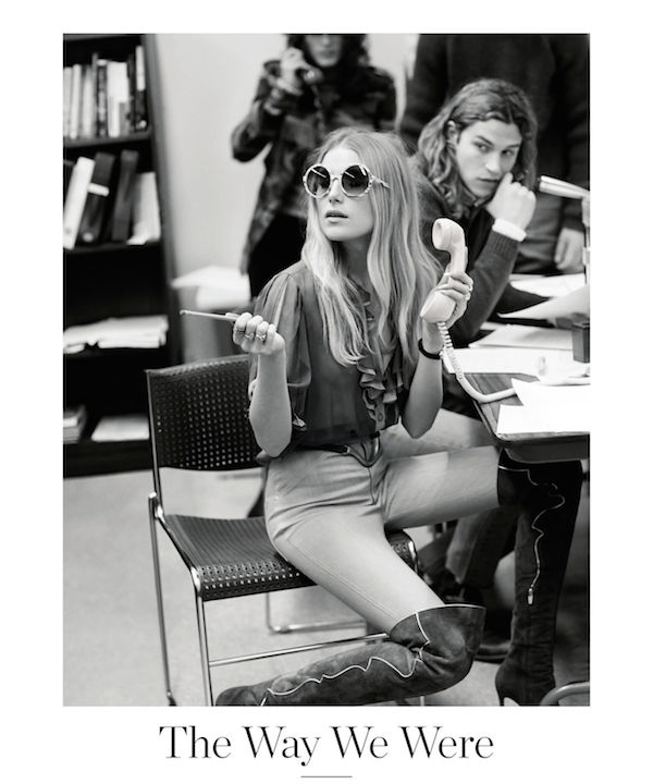 Porter Magazine styling julia Von Boehm model dree hemmingway as gloria steinem