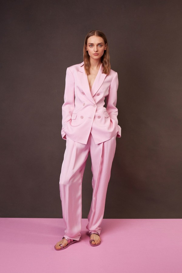 Tibi Resort 2018 double-breasted suit in pink