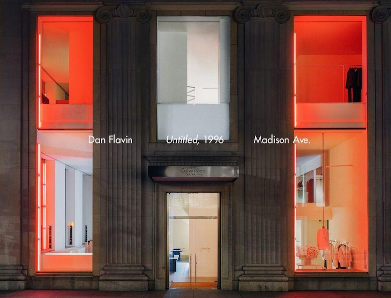raf simons for calvin klein creates drama with a dan flavin in store installation