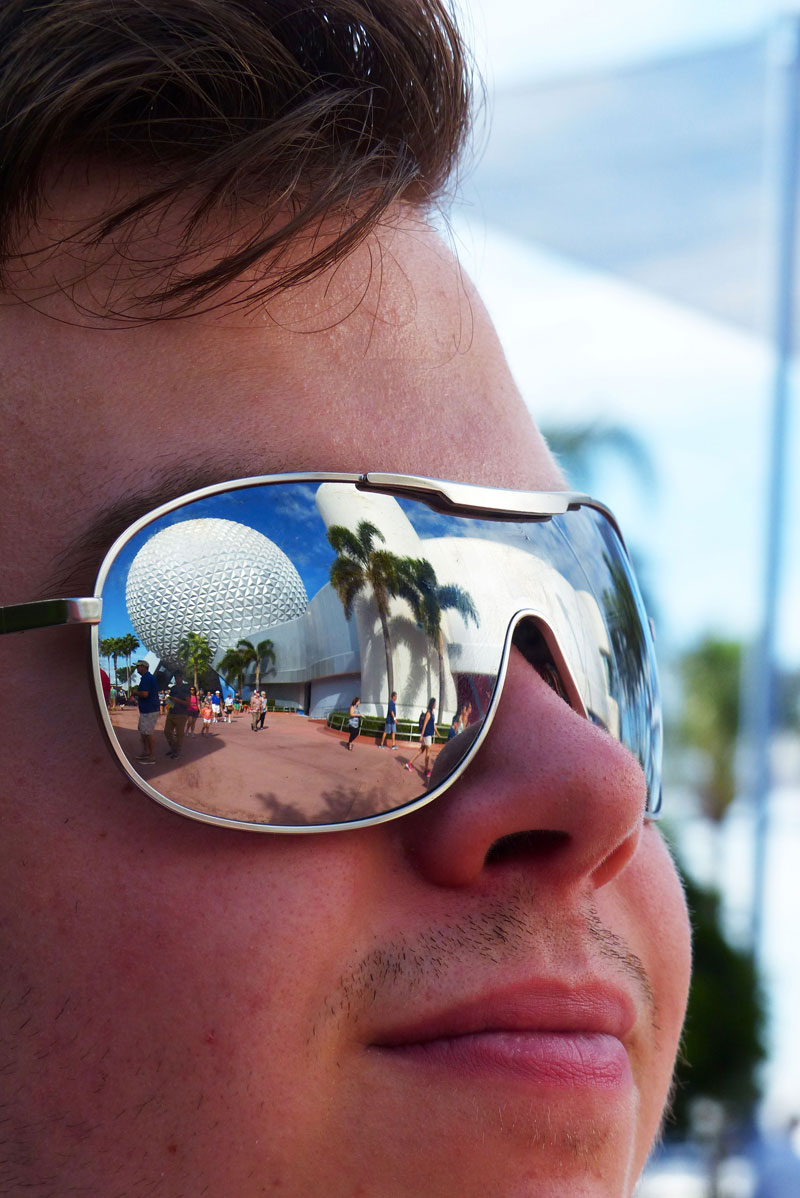 Spaceship Earth reflected in sunglasses
