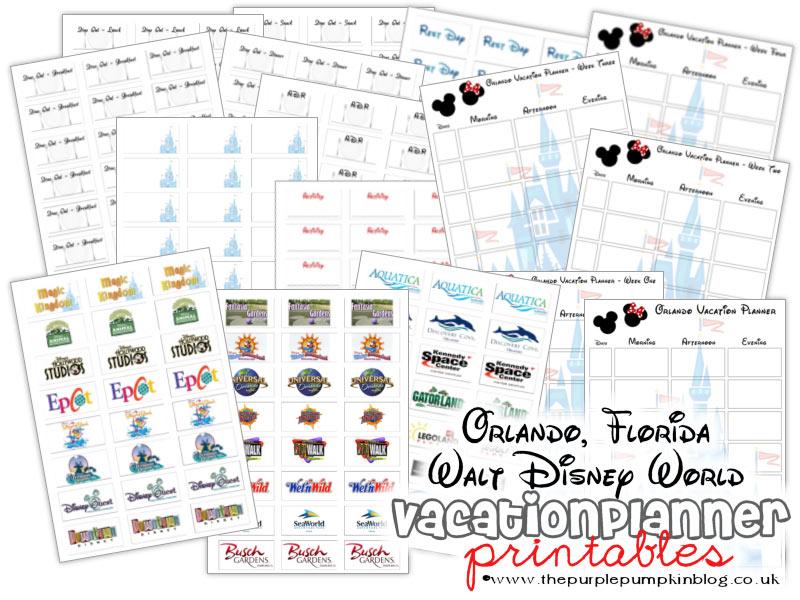 Walt Disney World, Orlando, Florida Vacation Planner - Free Printable