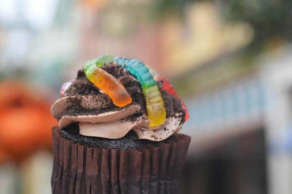 Chocolate Worms and Dirt Cupcake