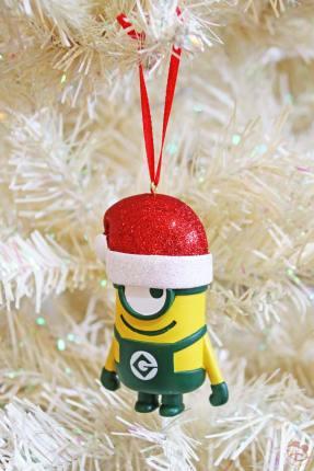 Santa Hat Minions Christmas Ornament