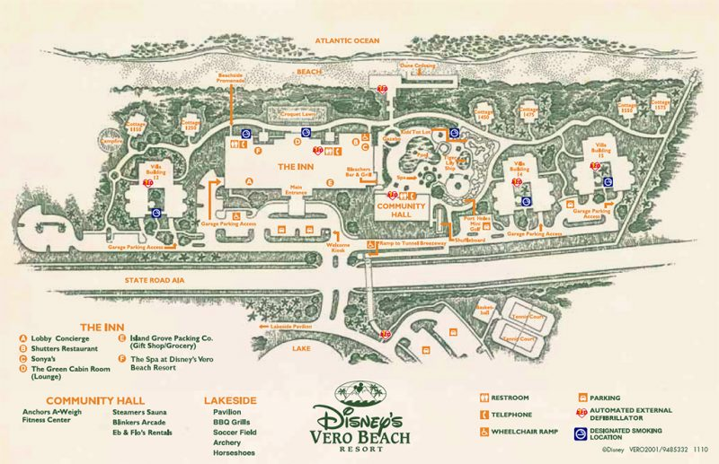 Disney's Vero Beach Resort Map 2016