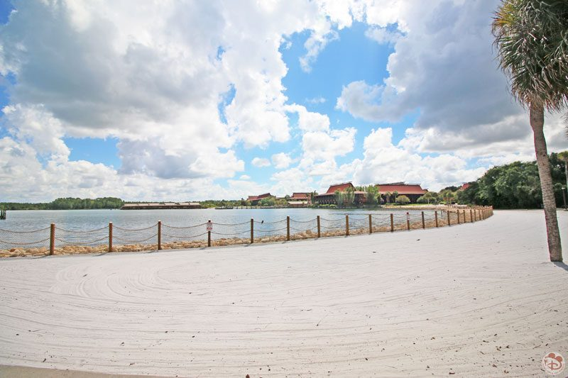 View of Disney's Polynesian Villa Resort from the path near Grand Floridian