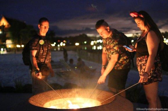 Toasting Marshmallows on Polynesian Village Resort Beach