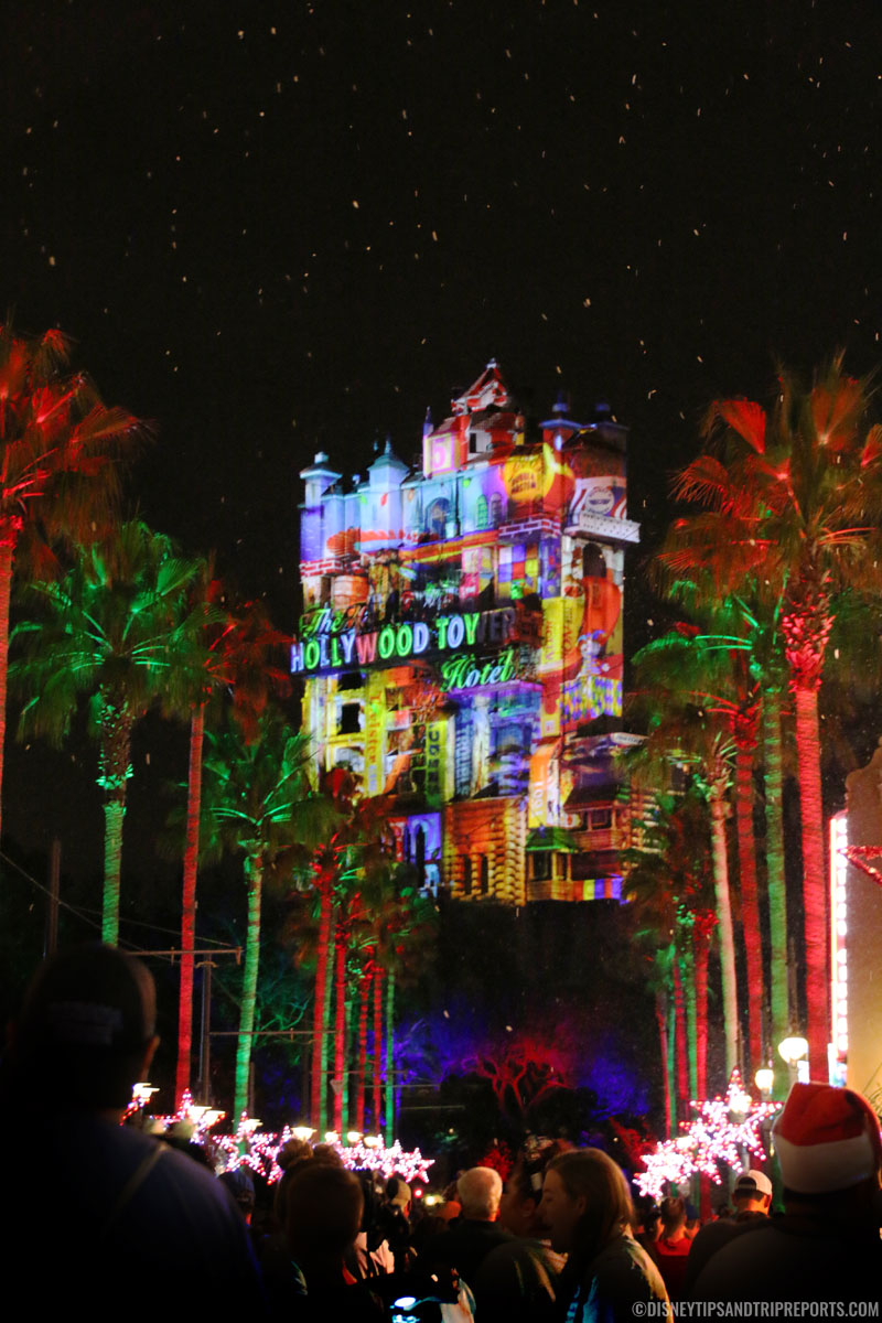 Hollywood Tower of Terror Christmas Light Projection