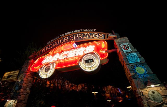 Radiator Springs Racers at night
