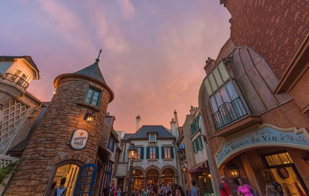 france-side-street-epcot-sunset