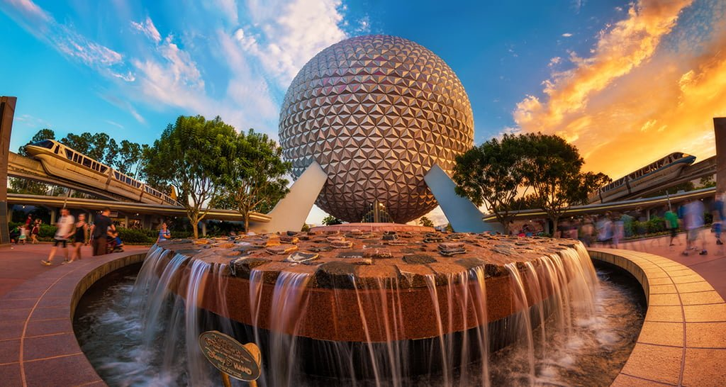 spaceship-earth-sunset-dual-monorails-epcot-v2 copy