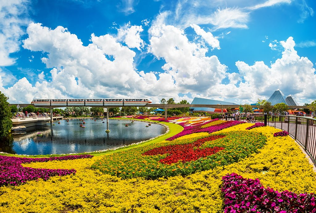 disney flower and garden. Monorail-flower-garden-festival-epcot-blue-clouds Disney Flower And Garden 2