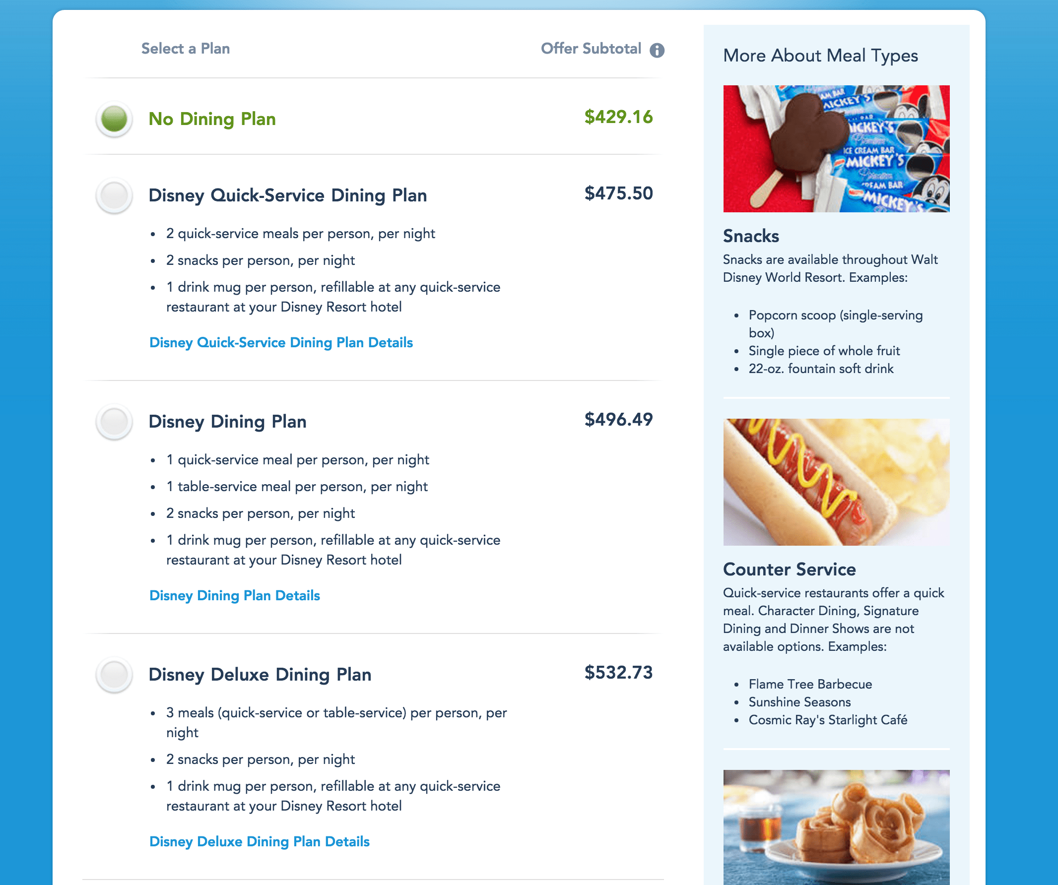 How to Purchase a Disney Dining Plan