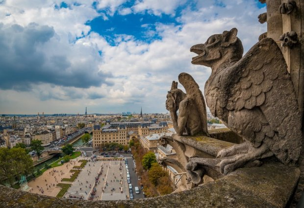 gargoyles-fisheye-notre-dame-cathedral-paris-france