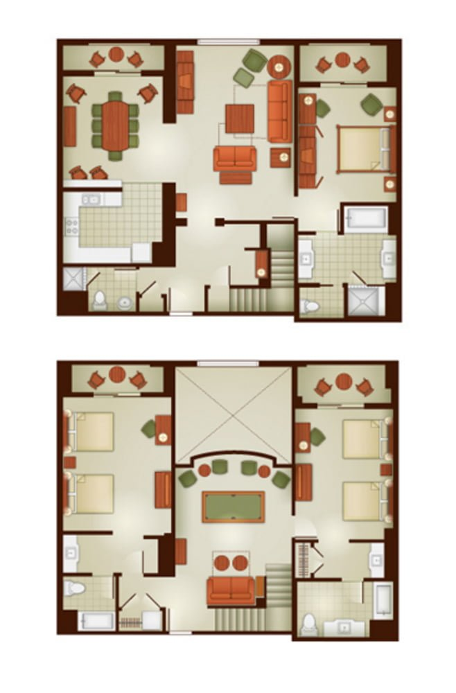 Grand californian disney vacation club grand villa for 3 bedroom villa plans