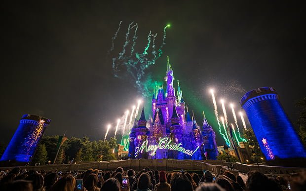 as far as holiday entertainment goes lets start with the newest offering disney gifts of christmas this new limited time cinderella castle projection
