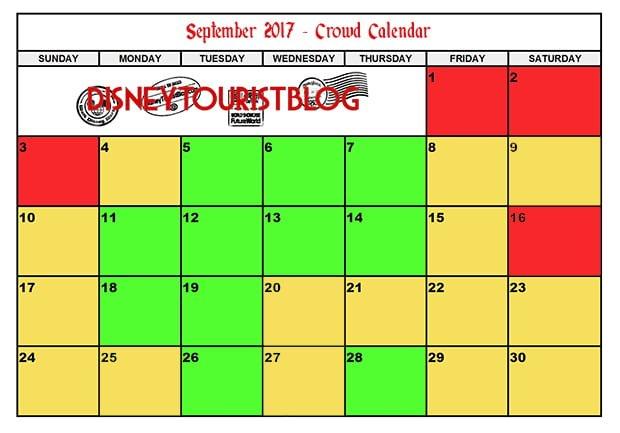 September Calendar.September Disneyland Crowd Calendar Disney Tourist Blog