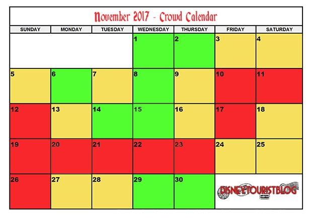 November Disneyland Crowd Calendar Disney Tourist Blog