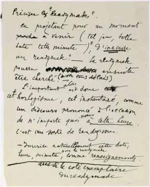 """Marcel Duchamp (28 Jul 1887 - 2 Oct 1968) Préciser les Readymades (Note autographe pour """"Le Grand verre"""") 1912"""