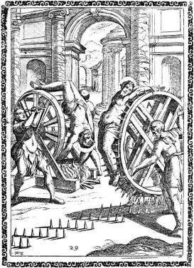 Martyr bound naked to a wheel, which is revolved over iron spikes