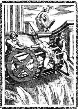 Martyrs bound to the circumference of a great wheel, and rolled down a precipice
