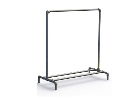 4ft Industrial Rustic Garment Clothing Rail (K131)