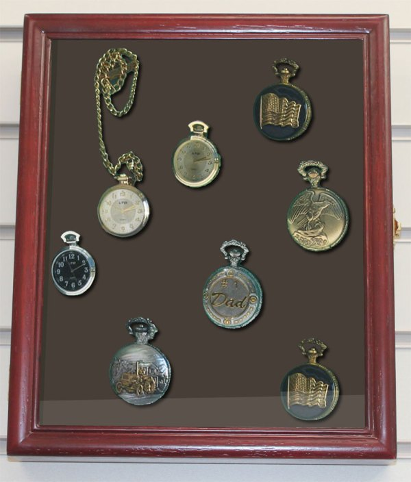 Display Case Shadow Box Cabinet Pocket Watches Wood