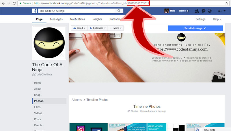 get facebook album id
