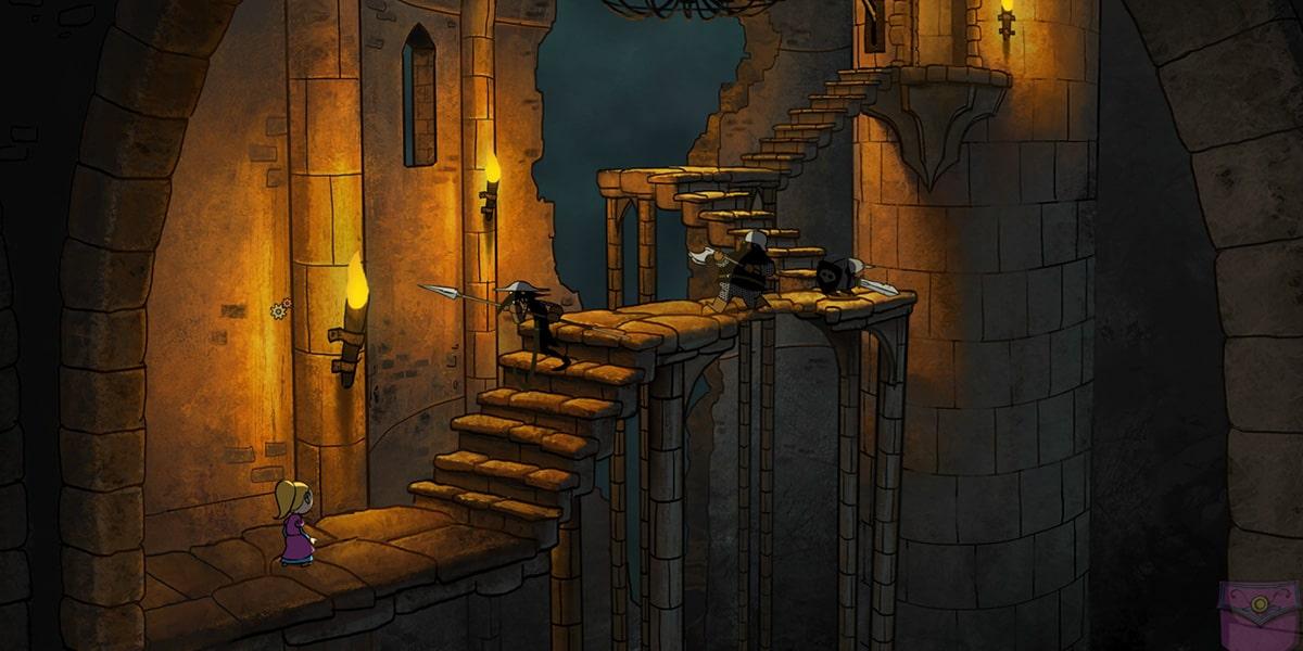 Tsioque en exploration escalier face à des ennemis