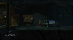 TEST The Cave Panneau vers la tour de la caverne