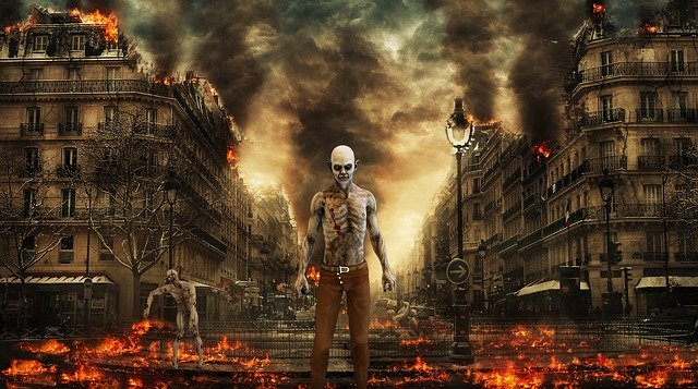 Un zombie traversant les flammes
