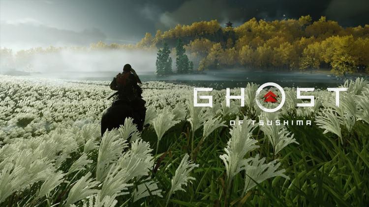 Ghost of Tsushima Jin chevauche prairie