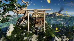 Ghost of Tsushima Jin devant un sanctuaire