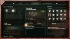 Returnal - L'écran d'équipement, où on peut suivre les traits de ses armes