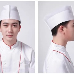 Kitchen Hats Pendant Lighting Fixtures White Breathable Chef Hat Single Use Non Woven Paper Food Service