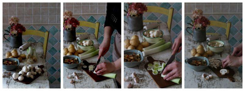 vellutata di patate, porri e funghi ingredienti