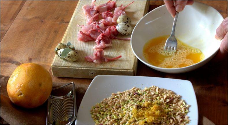 ingredienti panatura delle costolette cereali, uovo e pistacchi