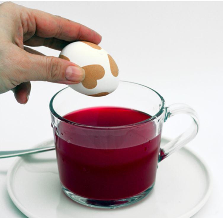 uovo messo in ammollo in acqua colorata di rosso