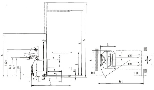 Apilador electrónico de translación y elevación eléctricas