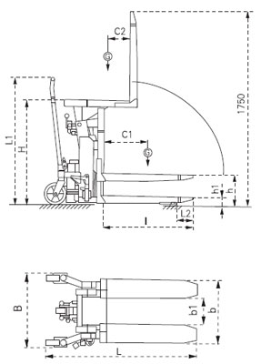 Transpaleta inclinador manual 90º para 1000kg