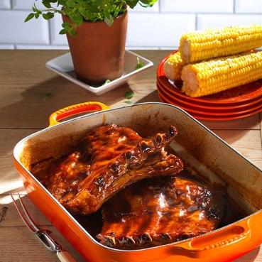 Pork-ribs-with-Bourbon-bbq-glaze-33cm-signature-Cast-Iron-Roaster