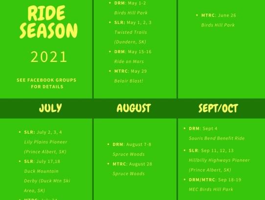 2021 Ride Season Calendar