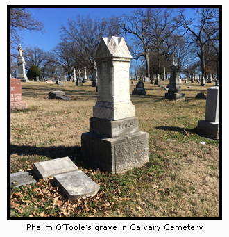 Phelim O'Toole's Grave in Calvary Cemetery