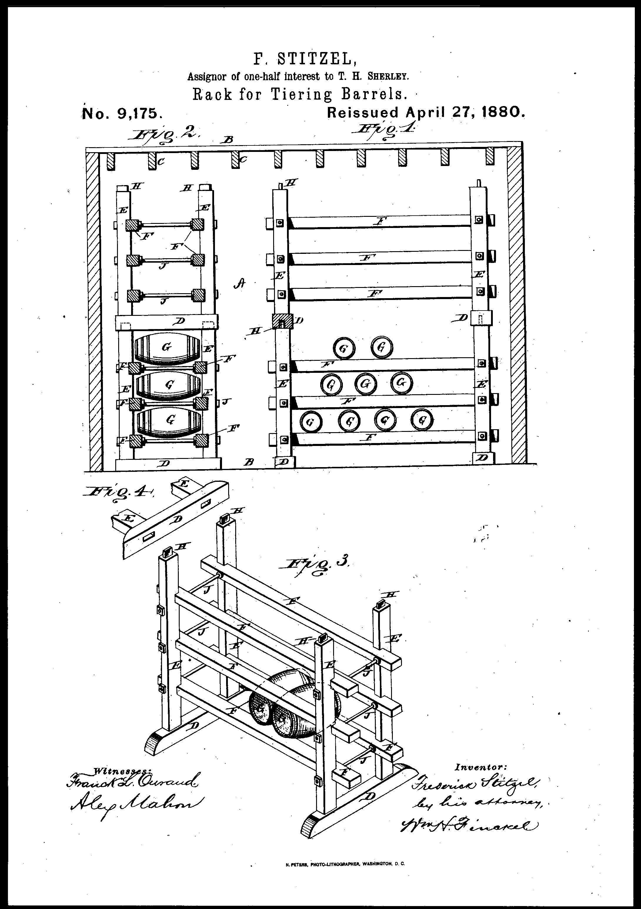 Frederick Stitzel's 1879 Patent for Improvement in Racks