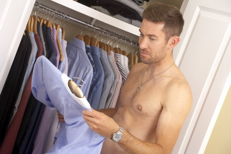 Nicely organised wardrobe of well fitting shirts, pressed and smelling Distinctive.