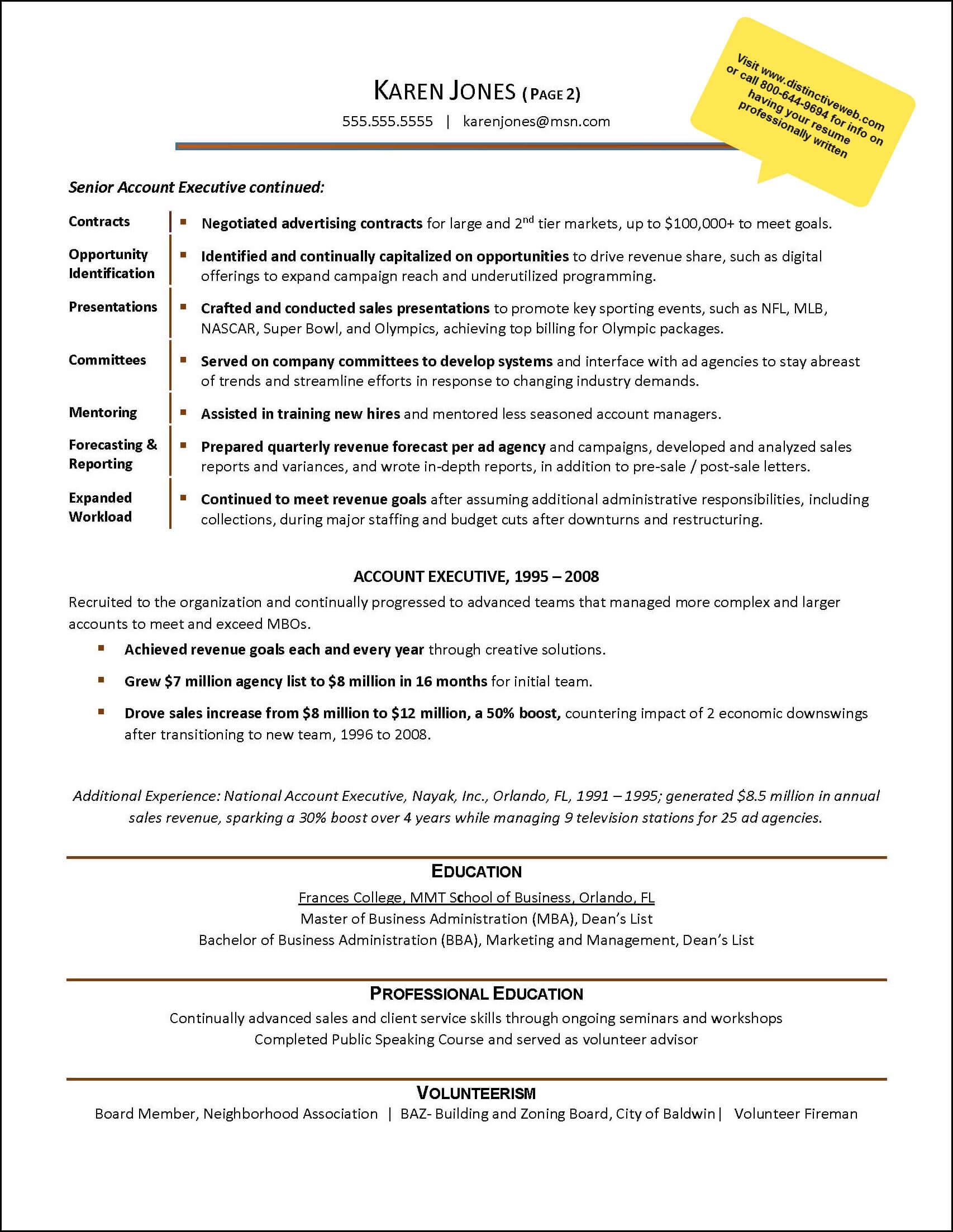 sample 2 page digital sales resume